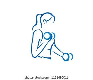 Modern Female Fitness Training Logo Illustration In Isolated White Background