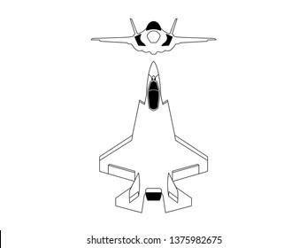 Modern fighter jet blueprint vector