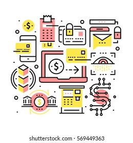 Modern financial transactions technology, banking & security collage. Credit card, cryptocurrency and blockchain tech concepts. Modern Thin line art icons background. Linear style illustrations.