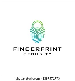 Modern Fingerprint Security logo design
