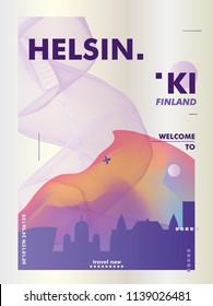 Modern Finland Helsinki skyline abstract gradient poster art. Travel guide cover city vector illustration