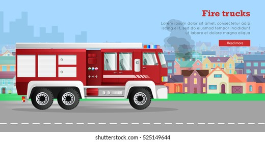 Modern fire engine rides on fire, town buildings, smoke flat vector illustrations