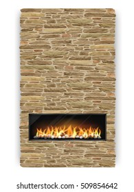 Modern fireplace with chimney decorated the natural stone.