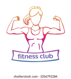 Modern fitness club logo in colorful gradient in orange, pink, purple, violet colors. Vector line illustration of strong woman doing bicep curl. Isolated on white background.