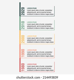 Modern five year timeline infographic  template design for project or presentation