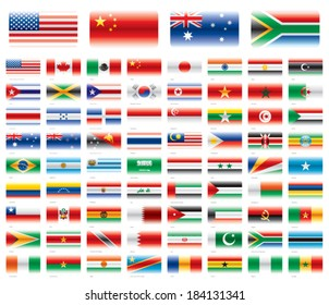 Modern flag set. America Asia Africa Oceania 72 flags. Vector without transparencies.