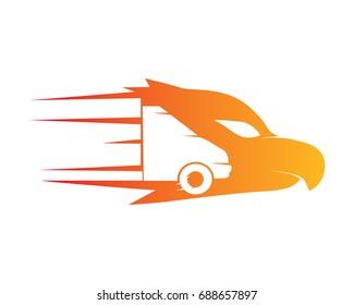 Modern Flaming Eagle Delivery Cargo Logo