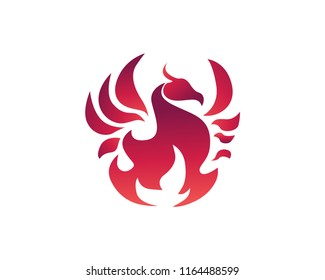 Modern Flaming Phoenix Logo In Isolated White Background