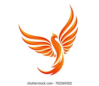 Modern Flaming Phoenix Logo Symbol