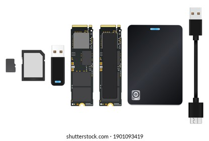 Modern of flash memory device set (Micro SD Card ,SD Card ,Flash Drive ,NVMe M.2 PCI-Express (PCI-E) Solid State Drive (SSD) ) and External Harddisk drive with USB3 cable Isolate on white background.