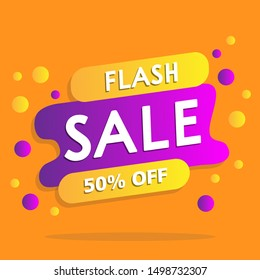 Modern Flash Sale Banner for Business, Poster and  flyer template. Vector Background.