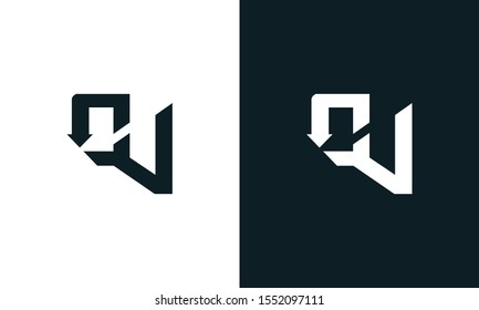Modern flat abstract letter OV logo. This logo icon incorporate with two abstract shape in the creative process.