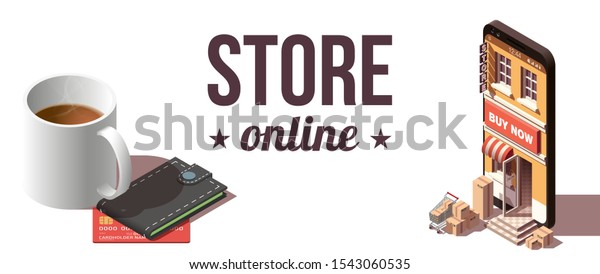 Modern Flat Banner Design Shopping Online Stock Vector Royalty Free 1543060535