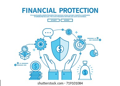 Modern flat blue color line vector editable graphic illustration, business finance concept, financial protection
