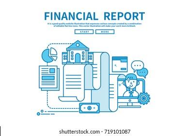 Modern flat blue color line vector editable graphic illustration, business finance concept, financial report