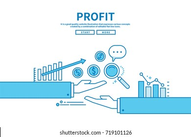 Modern flat blue color line vector editable graphic illustration, business finance concept, profit