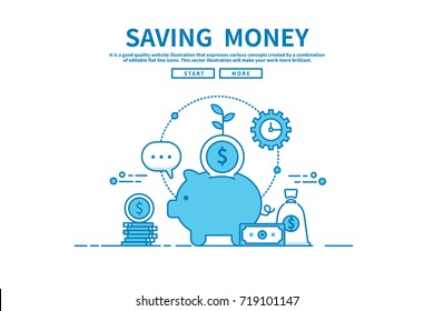Modern flat blue color line vector editable graphic illustration, business finance concept, saving money
