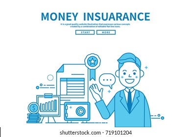 Modern flat blue color line vector editable graphic illustration, business finance concept, money Insurance