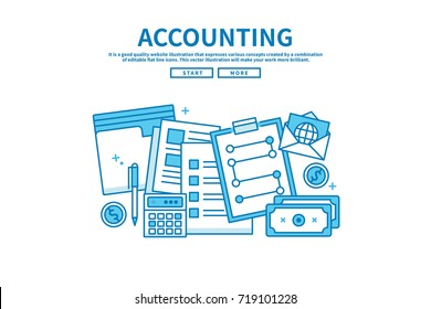 Modern flat blue color line vector editable graphic illustration, business finance concept, accounting