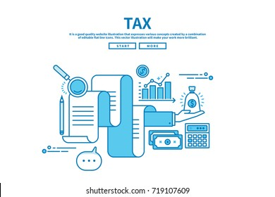 Modern flat blue color line vector editable graphic illustration, business finance concept, tax