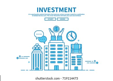 Modern flat blue color line vector editable graphic illustration, business finance concept, investment