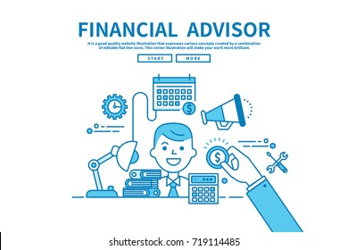 Modern flat blue color line vector editable graphic illustration, business finance concept, financial advisor