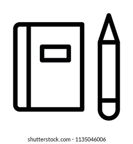 Modern Flat Book and pencil icons