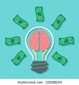 Modern Flat Business Vector Concept Of Money Idea With Light Bulb, Brain  And Dollar Bills