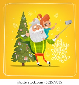 Modern flat cartoon style Santa Claus with cute redhead baby girl smiling and making a selfie together next to Christmas tree. Template for Greeting Card, Decoration Holiday Christmas design