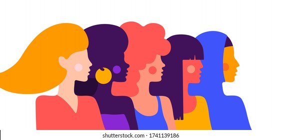 Modern flat character. Simple character of woman lady of different nationalities, races, arab, asian, european, african. Woman character, concept in flat color graphic. Vector Illustration