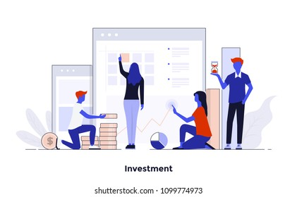 Modern flat color design, Business concept for Investment, easy to use and highly customizable. Modern vector illustration concept, isolated on white background.