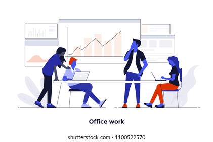 Modern flat color design, Business concept for Office Work, easy to use and highly customizable. Modern vector illustration concept, isolated on white background.