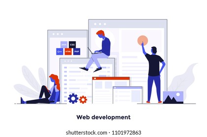 Modern flat color design, Business concept for Web Development, easy to use and highly customizable. Modern vector illustration concept, isolated on white background.