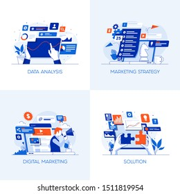 Modern flat color designed concepts icons for Data Analysis, Marketing Strategy, Digital Marketing and Solution. Can be used for Web Project , Applications, Infographics and Print design. Vector