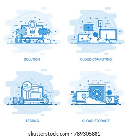 Modern flat color line concept web banner of Testing, Solution, Cloud Computing and Cloud Storage. Conceptual vector illustration for web design, marketing, and graphic design.