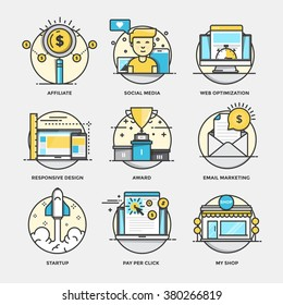 Modern flat color line designed concepts icons for Affiliate, Social Media, Web optimization, Responsive design, Award, Email marketing, Startup, Pay per click and My shop
