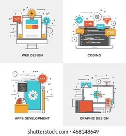 Modern flat color line designed concepts icons for Web Design, Graphic Design, Coding and Application Development. Can be used for Web Project and Mobile Platforms. Vector Illustration