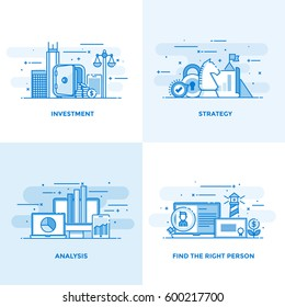 Modern flat color line designed concepts icons for Investment, Strategy, Analysis and Find the Right Person. Can be used for Web Project and Applications. Vector Illustration