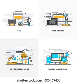 Modern flat color line designed concepts icons for Seo, Web Design, Apps Development and Digital Marketing. Can be used for Web Project and Applications. Vector Illustration