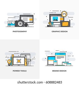 Modern flat color line designed concepts icons for Photography, Graphic Design, Power Tools and Brand Design. Can be used for Web Project and Applications. Vector Illustration