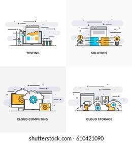 Modern flat color line designed concepts icons for Testing, Solution, Cloud Computing and Cloud Storage. Can be used for Web Project and Applications. Vector Illustration