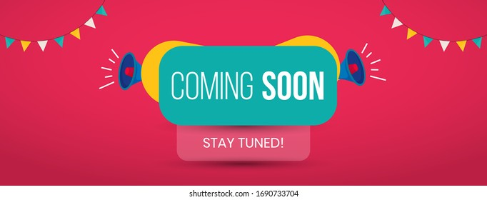 Modern flat coming soon banner for social media facebook and twitter marketing with stay tuned in it. Coming Soon Stay Tuned banner with announcement. Facebook and Twitter dimension cover photo