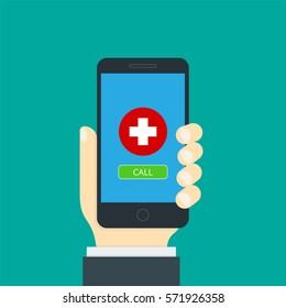 Modern flat concept medical app. Medical health care and medicine mobile consultant. Vector illustration.