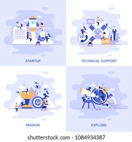 Modern flat concept web banner of Technical Support, Mission, Explore and Startup with decorated small people character. Conceptual vector illustration for web and graphic design, marketing.
