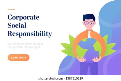 modern flat corporate social responsibility landing page template