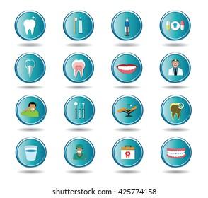 Modern flat dental icons set