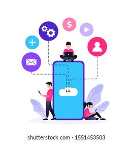 Modern flat design of Cloud Technology for banner and website. Small people with smartphone. Cloud computing service online media file data backup storage. Vector concept illustration.