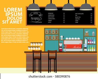 Modern Flat Design Coffee shop Interior Wide Vector Style