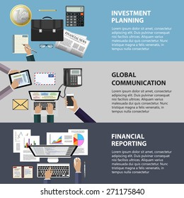 Modern flat design communication, investment and reporting concept for e-business, web sites, mobile applications, banners, corporate brochures, book covers, layouts etc. Vector eps10 illustration