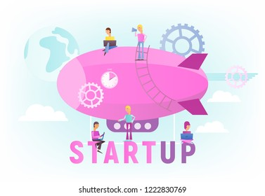 Modern Flat Design Concept of Business Startup. Young Men people Fly on Airship. Cohesive Teamwork in the Startup. Vector Illustration for Web Page, Banner, Social Media and Landing Page.
